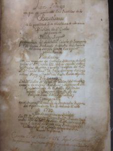 Baptism Registry including Saint Junípero Serra's first baptism in Nueva California in 1770