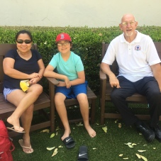 Family with Fr. Tom, pastor at Mission San Buenaventura
